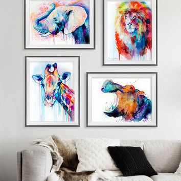 Elephant, Lion, Giraffe, Hippo watercolor painting print, animal set, African set, art set, animal art, animal print, African art, art print