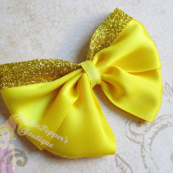 Belle hair bow disney princess costume dress Beauty and the Beast hair clip girls teens sparkles kawaii cute fun READY TO SHIP