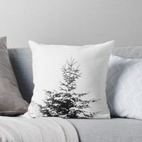 'Snow Covered Fir Tree' Throw Pillow by by-jwp
