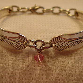 A Wheat Pattern Spoon Bracelet With Pink Crystal Antique Handmade Spoon Jewelry b29