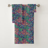 Colorful Waves Abstract Pattern Bath Towel Set