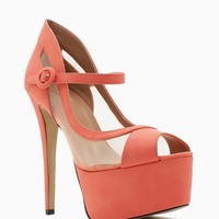 Fiery 4 Mesh Peep Toe Mary Jane Platform