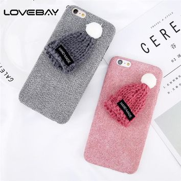 Lovebay Phone Case For iPhone 8 7 6 6s Plus New Arrival Fashion Soft Shell Cute Girly Knitted Hat Christmas Cap Back Cover Case