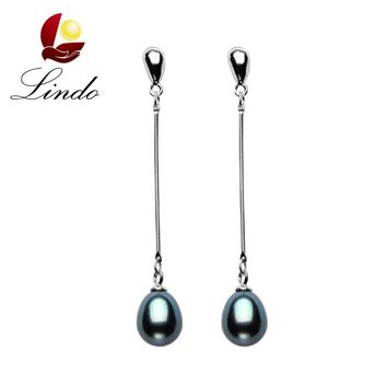 Fashion 925 sterling silver earrings for women high quality genuine Grade AAAA water drop freshwater pearl earrings 9-10mm