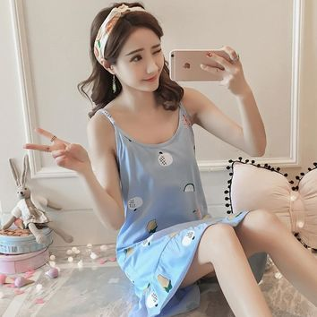 Bejirog Cute Cotton Sleepshirts Sleeveless Sleepwear Sexy Lingerie Pijamas Female Nightgowns Nightdress Women Nighties Summer