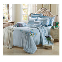 Silk ink and wash painting Duvet Quilt Cover Sets Bedding Cover Set2.0M/2.2M Bed 01 Blue