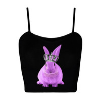 Purple Bunny crop top Sizes XS -L  Black Rabbit Animal Zoo Safari top Kawaii tumblr grunge / seapunk / pastel goth / pastel grunge