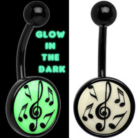 Glow in the Dark Titanium Music Notes Belly Ring | Body Candy Body Jewelry