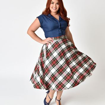 Hell Bunny Plus Size 1950s Style White Plaid Doralee High Waist Swing Skirt