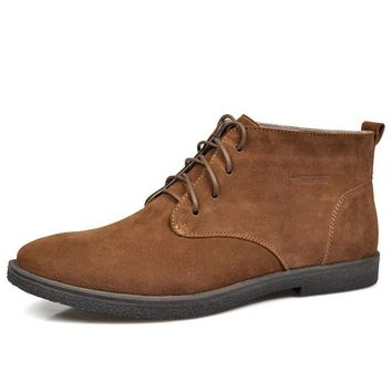 Nubuck Leather Lace-Up Desert Chukka Ankle Boots
