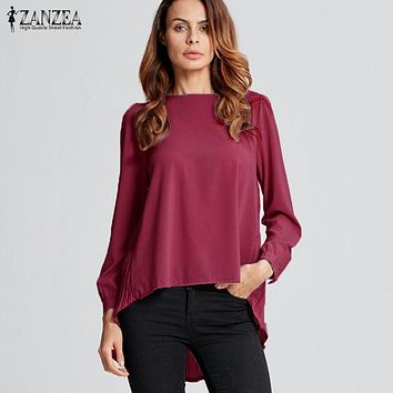 ZANZEA 2018 Autumn Women Oversized Sexy Casual Loose Chiffon Tops Long Sleeve Solid Shirts Ladies Blouses Plus Size Blusas