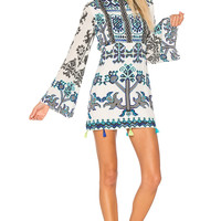 ROCOCO SAND Bell Sleeve Mini Dress in Black & White | REVOLVE