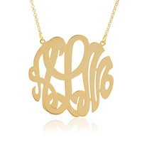 Sterling Silver Personalized Handcrafted Three Script Initial Monogram Necklace