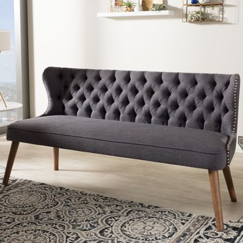 Baxton Studio Scarlett Mid-Century Modern Brown Wood and Dark Grey Fabric Upholstered Button-Tufting with Nail Heads Trim 3-Seater Sofa Set of 1