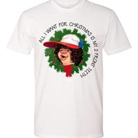 All I want for Christmas is my 2 Front Teeth Stranger Things - christmas theme shirt - netflix
