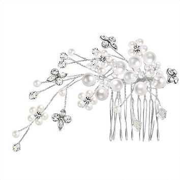Bridal Hair Comb Wire Strung Crystal Headpiece White Simulated Pearl