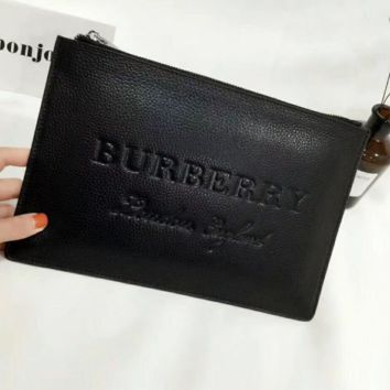 Burberry Men's Leather Peach Litchi Handbags Lettering