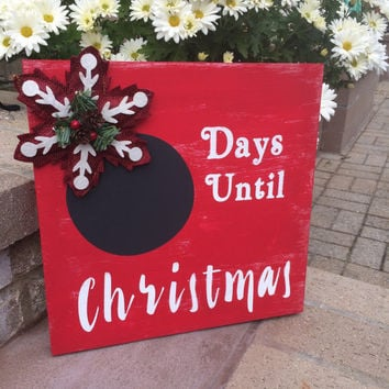 Christmas Countdown Wood Sign, Distressed Wood Sign, Wall Decor, Wall Art, Wood Sign,  Wood Wall Art, Christmas Decorations, Holiday  Decor