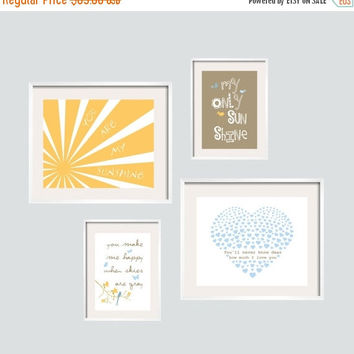 Halloween Sale Spa Pom Pon Play You are my sunshine Prints in yellow, latte grey and blue  4 prints Set 8x10 and 5x7 by YassisPlace FREE SHI