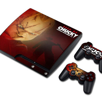 Chucky doll sticker skin set for ps3 slim