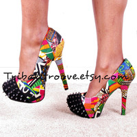 Ankara African Print Patchwork Spike Reconstructed Platform Chunkly Spike Stilettos Heel Shoes size usa 8