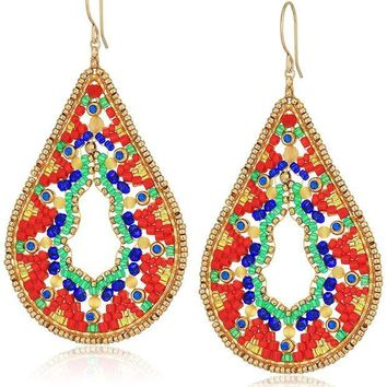 DCCKV2S Miguel Ases Large Ankara Print Intricate Swarovski Teardrop Earrings