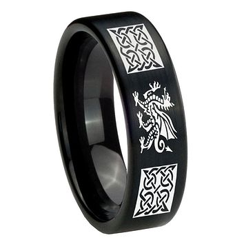 8MM Brush Black Multiple Dragon Celtic Pipe Cut Tungsten Carbide Laser Engraved Ring
