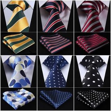 "Pocket Square Classic Party Wedding Dot Striped 3.4"" Silk Fashion Wedding Mens Extra Long Tie XL Necktie Handkerchief Set #Q7"