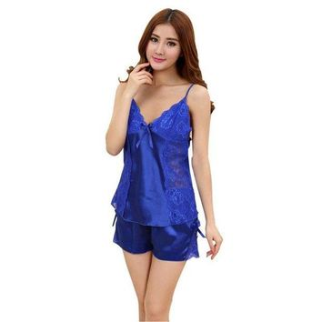 DCCKU62 Women Lace Pyjamas Summer Silk Robe Sleepwear Pijama Entero Satin Robe Nightgown Nightwear