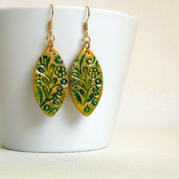 Yellow-Green Earrings made from Polymer Clay with Faux Ceramics Technique / Optional clip-on
