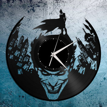 Batman Joker Suicide Squad, Batman Gift, Kids Room Wall Decor, Vinyl Record Clock, The Joker Clock, Batman Begins, Kids Room Clock
