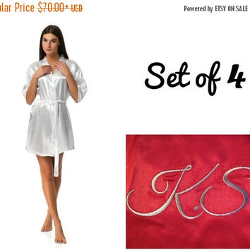SALE Bridesmaid robes set of 4, Wedding robes, Robes for bride and bridesmaid, Cheap robes, Robes under 20, Personalized robes, Monogrammed