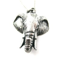 3D Realistic Elephant Head Animal Pendant Necklace in Silver