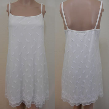 90s, Amelia's, White (With a Hint of Cream), Mini, Slip Dress - Adjustable Straps, Fully Lined, Embroidered Soft Tulle, For Summer, Size S