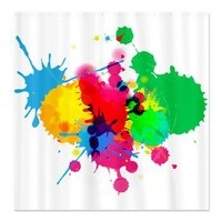 Colorful Paint Ball Fight Splash Shower Curtain Sh> Decorator Shower Curtains> MORE PRODUCTS-CLICK HERE-GetYerGoat.com