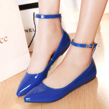 Ladies Shoes Pointed Toe Flats Ankle Strap Ballet Shoes Candy Color Yellow Blue Patent Leather Flat Shoes Women Large Size 9 42