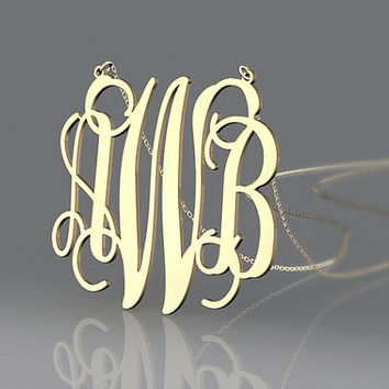 "1.5 "" monogram necklace--fashion plated in gold necklace--personalized gift for friends"