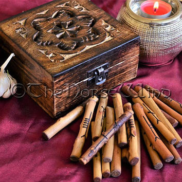 20 Ogham Staves Celtic Tree Ogham Set + Carved Wooden Box Corresponding Celtic Woods Divination Runes Set Wicca Gift