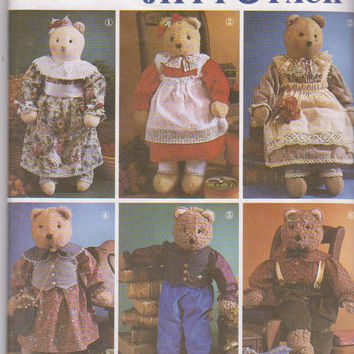 """Pattern for Abbies Jiffy 6 pack 22"""" stuffed bear with 6 vintage boy and girl outfits Simplicity 7649 UNCUT"""