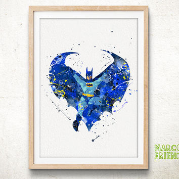Batman Print - Watercolor Art Print, Room Decor, Superhero Poster, Home Wall Art, DC Comics Poster