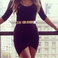 Black Assymetric Mini Dress