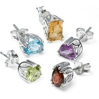 Amazon.com: Sterling Silver Peridot, Garnet, Amethyst, Blue Topaz and Citrine Individually Boxed Stud Earring Set: Jewelry