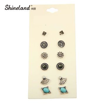 Hot-selling Cute Earring Sets Super Value 6 Pairs Set Round Square Ball Alloy Crystal Stud Earrings For Women Best Friend Gifts