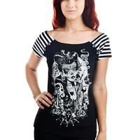 "WOMEN'S ""LUCKY 13"" BOLIVAR TEE BY TOO FAST (BLACK)"