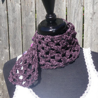 Short Royal Purple neck warmer with buttons, Royal purple scarflette