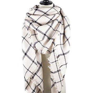 Zando Stylish Fall Winter Scarf Large Thick Wrap Cotton Oversized Scarf Women Tartan Plaid Blanket Scarf Cape Tassels