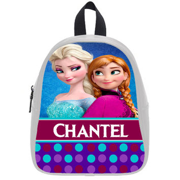 Personalized Backpack PU Leather - Frozen Elsa Ice Queen and Princess Anna