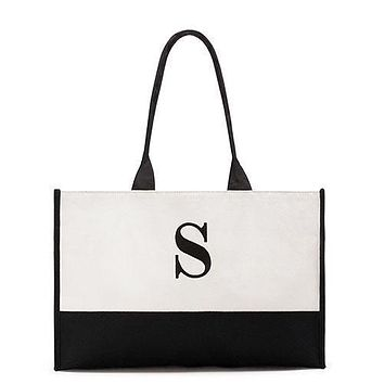 """Modern Initial Colorblock Tote - Black Letter """"T"""" (Pack of 1)"""