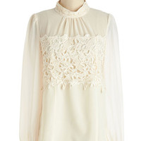 ModCloth French Mid-length Long Sleeve That's More Ladylike It Top in Ivory