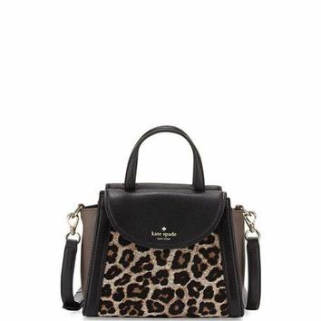 kate spade new york cobble hill adrien small calfhair satchel bag, leopard
